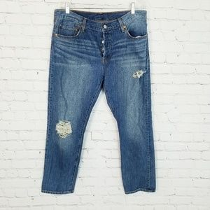 Levi's|501 Button Fly Distressed Jeans High Rise